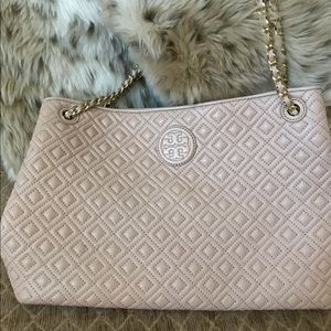 TORY BURCH pink tote bag- like new